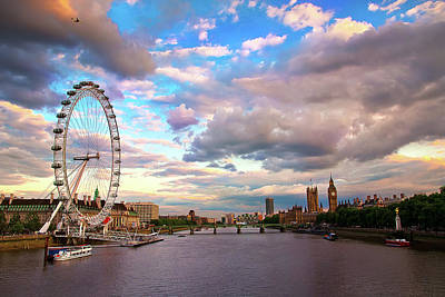 London Eye Evening Print by Kapuk Dodds