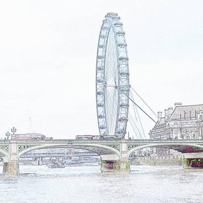 London Eye Digital Art - London Eye In Pencil by Sharon Lisa Clarke