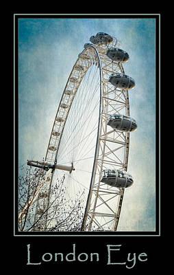 London Photograph - London Eye Poster Blue by Joan Carroll