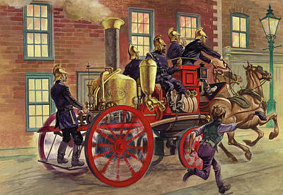 En Route Painting - London Fire Engine Of Circa 1860 by Peter Jackson
