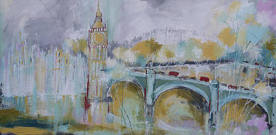 Abstract Painting - London Gold  by Irina Rumyantseva