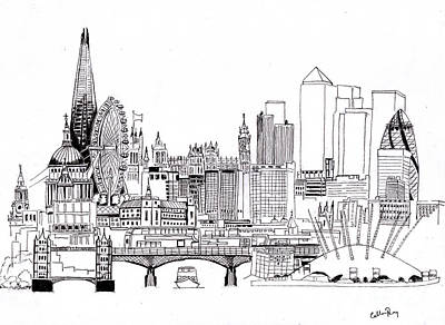 London Eye Drawing - London Medley Monochrome by Callan Percy