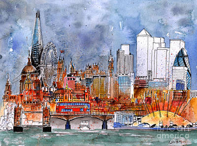 London Eye Drawing - London Medley by Callan Percy