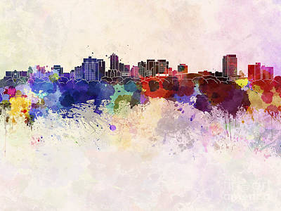 London Skyline Painting - London On Skyline In Watercolor Background by Pablo Romero