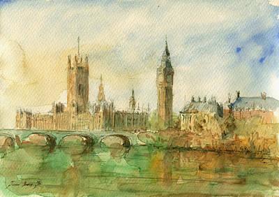 Big Ben Painting - London Parliament by Juan  Bosco