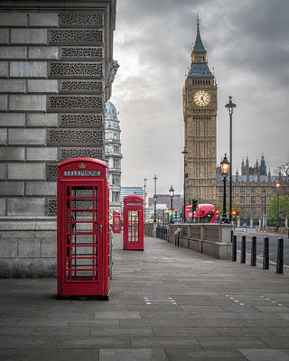Bus Photograph - London Phone Booths And Big Ben by James Udall