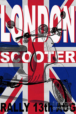 Union Jack Photograph - London Scooter Rally Poster by Edward Fielding