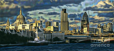 London Skyline Mixed Media - London Skyline Collection by Marvin Blaine