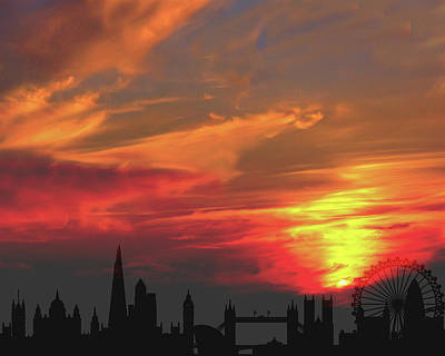 London Skyline Mixed Media - Sunset London by K McCoy