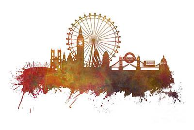 London Skyline Digital Art - London Skyline Panorame by Justyna JBJart