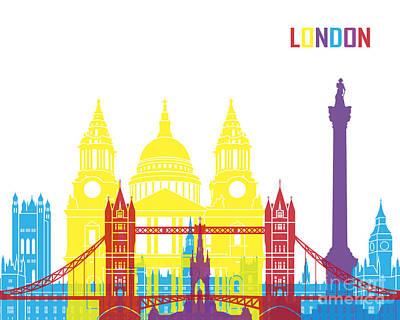 London Skyline Painting - London Skyline Pop by Pablo Romero