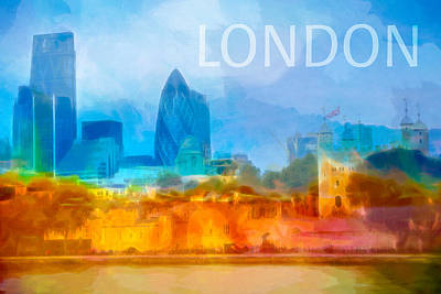 Castle Mixed Media - London Skyline Poster by Lutz Baar