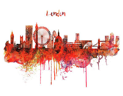 London Skyline Mixed Media - London Skyline Watercolor by Marian Voicu