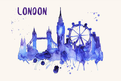 London Skyline Painting - London Skyline Watercolor Poster - Cityscape Painting Artwork by Beautify My Walls