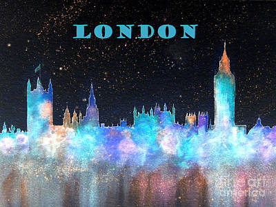 London Skyline Mixed Media - London Skyline With Banner by Bill Holkham