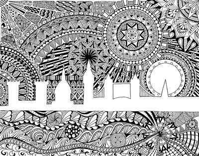 London Skyline Drawing - London Tangle by Aimee Cunningham