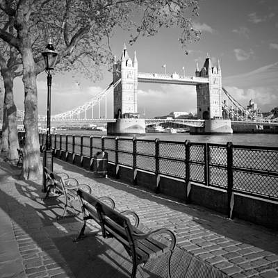 London Thames Riverside And Tower Bridge Print by Melanie Viola