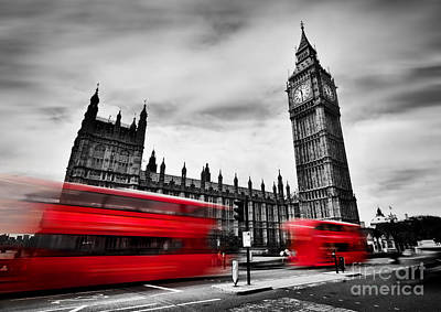 Clock Photograph - London, The Uk. Red Buses And Big Ben, The Palace Of Westminster. Black And White by Michal Bednarek