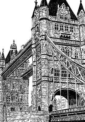 London Skyline Drawing - London's Tower Bridge by Brian Keating