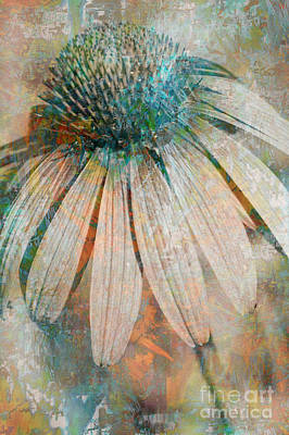 Abstracted Coneflowers Digital Art - Lone Coneflower by T Anderson