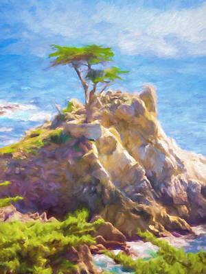 Lone Cypress Print by Impressionist Art