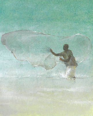 Coastal Drawing - Lone Fisherman Five by Lincoln Seligman