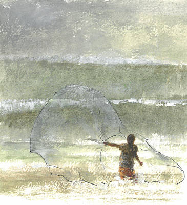 Coastal Drawing - Lone Fisherman Four by Lincoln Seligman