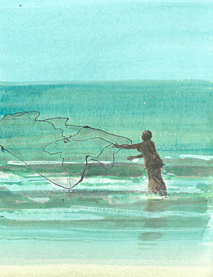 Turquoise Drawing - Lone Fisherman One by Lincoln Seligman