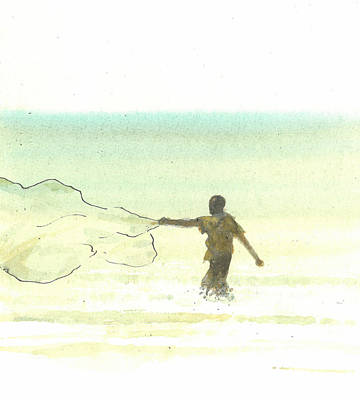 Turquoise Drawing - Lone Fisherman Six by Lincoln Seligman