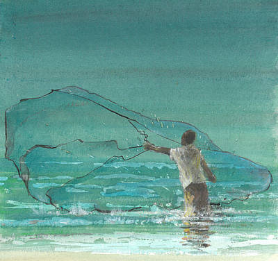 Turquoise Drawing - Lone Fisherman Three by Lincoln Seligman