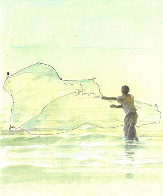 Turquoise Drawing - Lone Fisherman Two by Lincoln Seligman