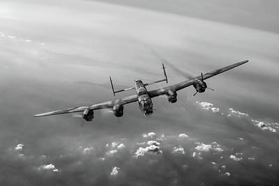 Lone Lancaster Black And White Version Print by Gary Eason