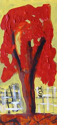 Visionary Art Drawing - Lone Red Tree by Mary Carol Williams