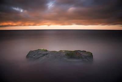 Lake Photograph - Lone Stone At Sunrise by Adam Romanowicz