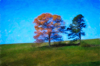 Lone Trees Painting Print by Teresa Mucha