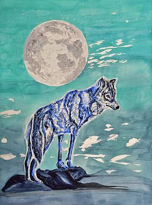 Wolf Watercolor Painting - Lone Wolf by Linda Brody