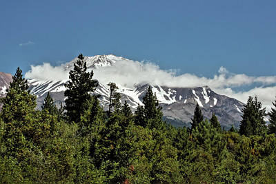Lonely As God And White As A Winter Moon - Mount Shasta California Print by Christine Till