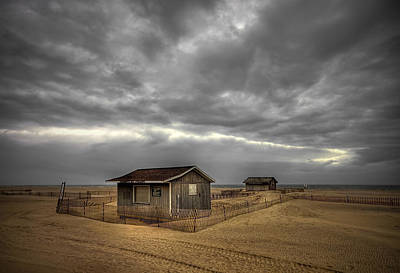 Lonely Beach Shacks Print by Evelina Kremsdorf