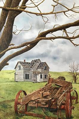 Abandoned Farm House Painting - Lonely Farm by Heather Norseth