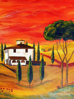 Poppies Field Painting - Heat Of Tuscany by Christine Huwer