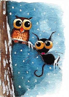 Winter Scene Painting - Lonely Owl by Lucia Stewart