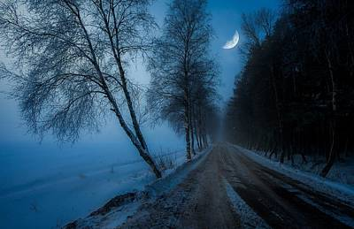 Photograph - Lonely Road Where The Moon Is Your Friend by Rose-Maries Pictures