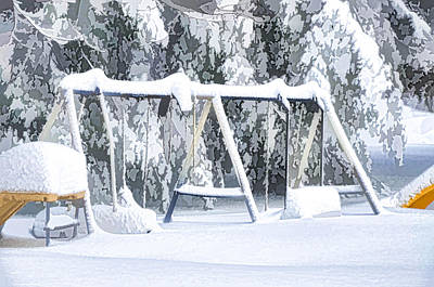 Snowscape Painting - Lonely Winter Swing by Lanjee Chee