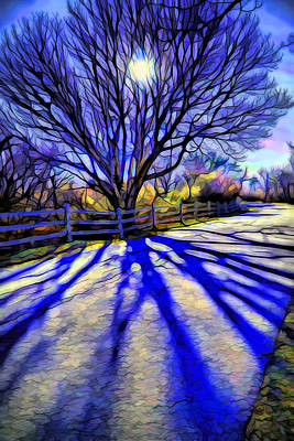Blue Digital Art - Long Afternoon Shadows by Lilia D