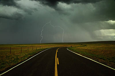 Images Lightning Photograph - Long And Winding Road Against Lighting Strike by DaveArnoldPhoto.com