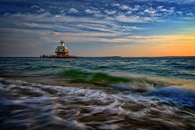 Long Beach Bar Lighthouse Print by Rick Berk