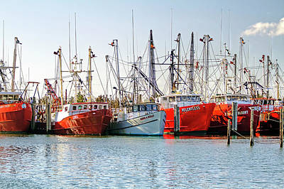 Long Beach Island Marina 2 Red White And Blue Print by Geraldine Scull