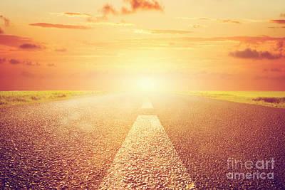 Future Photograph - Long Empty Asphalt Road Towards Sunset Sun by Michal Bednarek