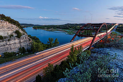Long Exposure View Of Pennybacker Bridge Over Lake Austin At Twilight - Austin Texas Hill Country Print by Silvio Ligutti