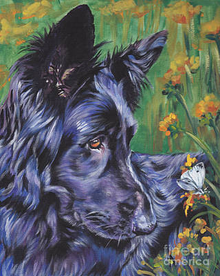 Long Hair Black German Shepherd Print by Lee Ann Shepard